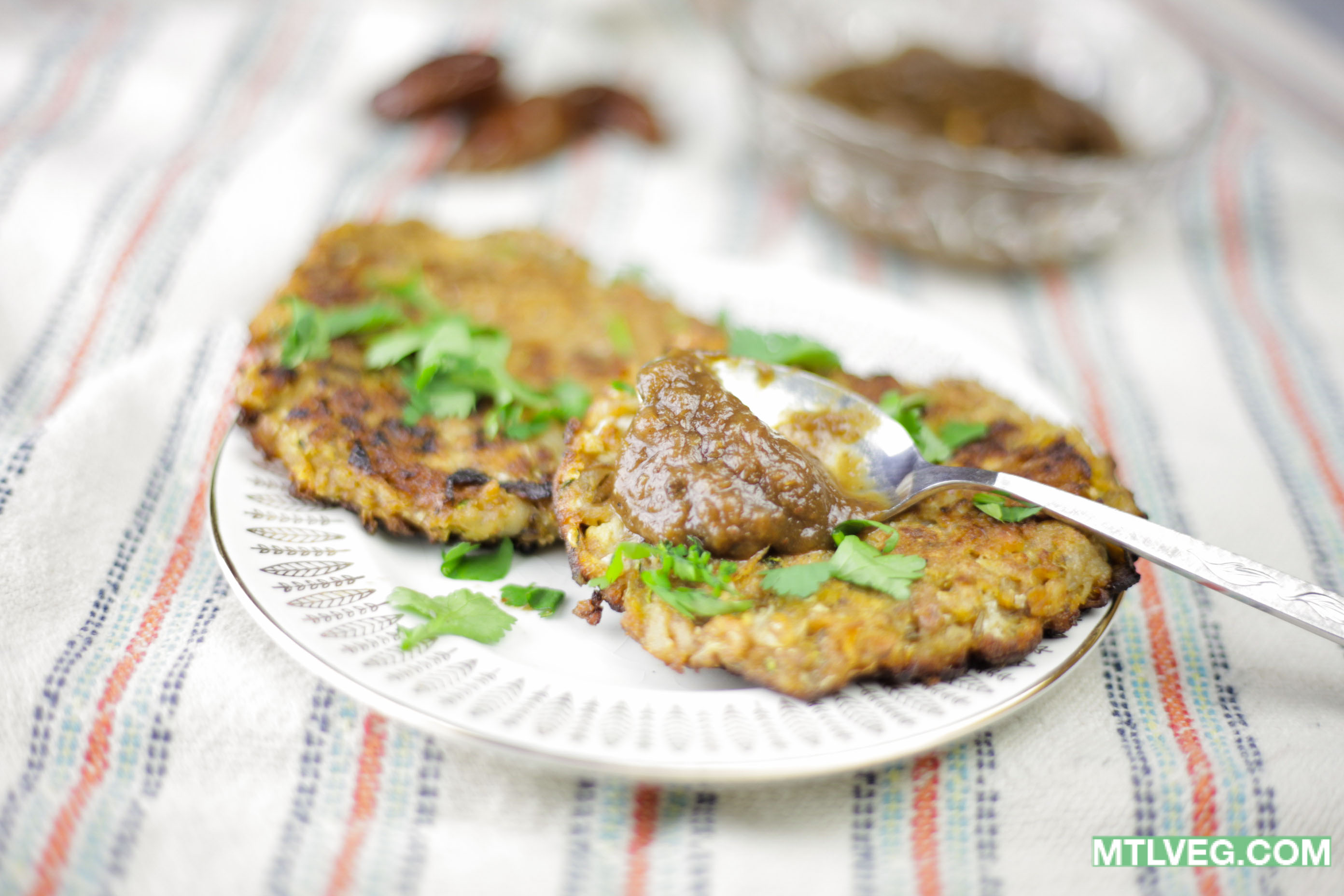 Mouth Watering Vegan Latkes with Tamarind Chutney