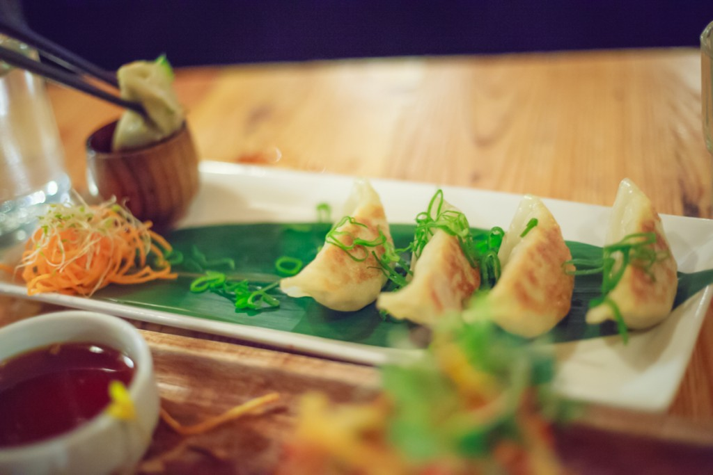 Gyoza (6), dumplings served with sake and ginger-infused sauce.