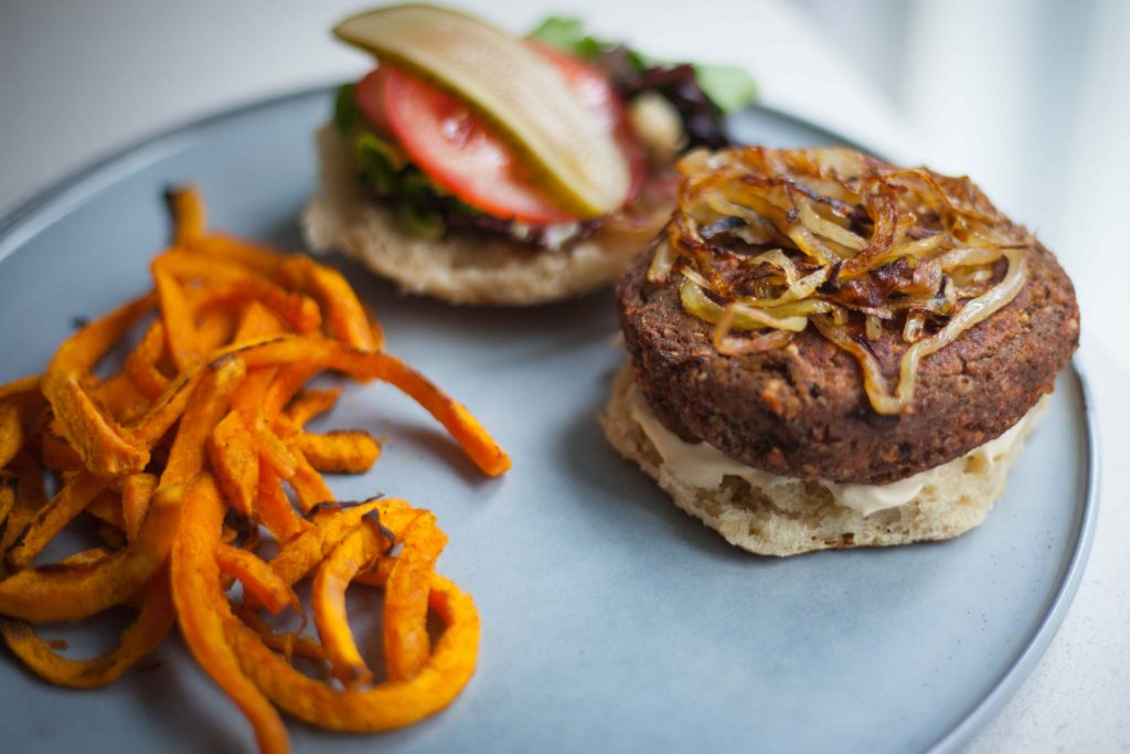 Veggie burger on plate