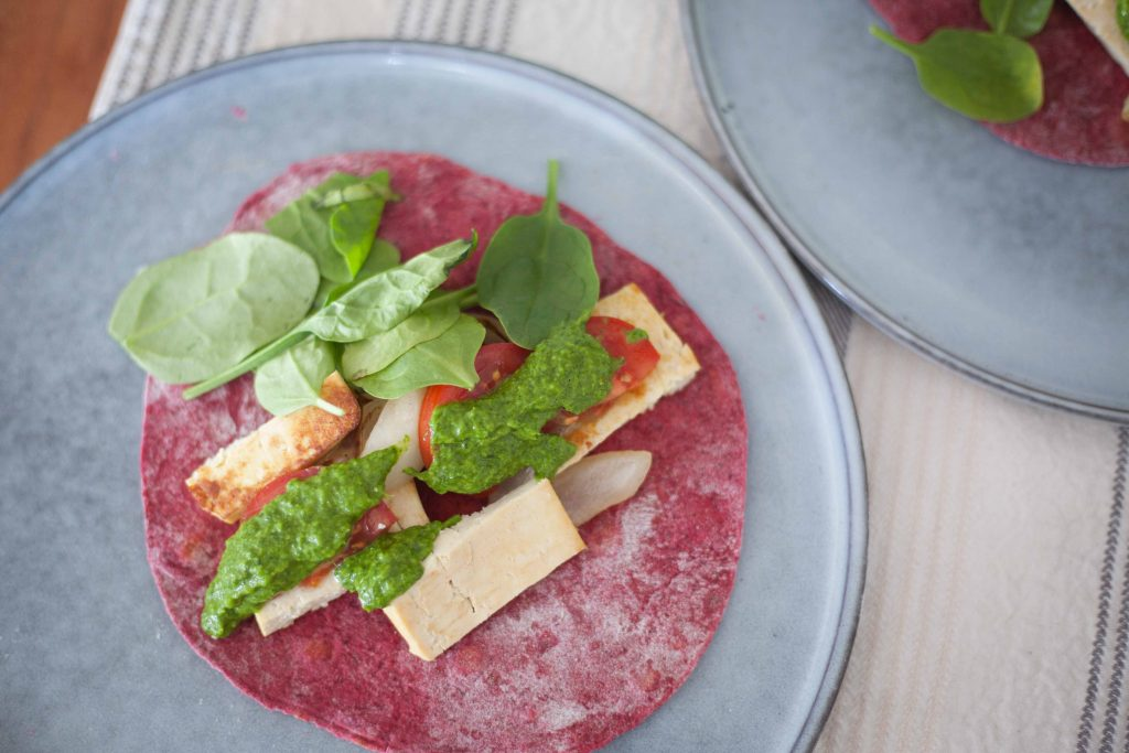 Pink tortilla made with beetroot